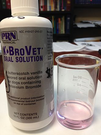 Potassium bromide - A bottle of PRN Pharmaceutical Company (Pensacola, FL) K•BroVet veterinary pharmaceutical potassium bromide oral solution (250 mg/mL). The product is intended to be used in dogs, primarily as an antiepileptic (to stop seizures). The pink color of the solution is artificial; pure potassium bromide solutions are colorless