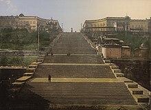 La scalinata Potëmkin in una cartolina dell'ultimo Ottocento