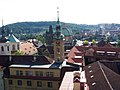 Praha - Klementinum - Astronomical Tower - View West towards Karlův Most.jpg
