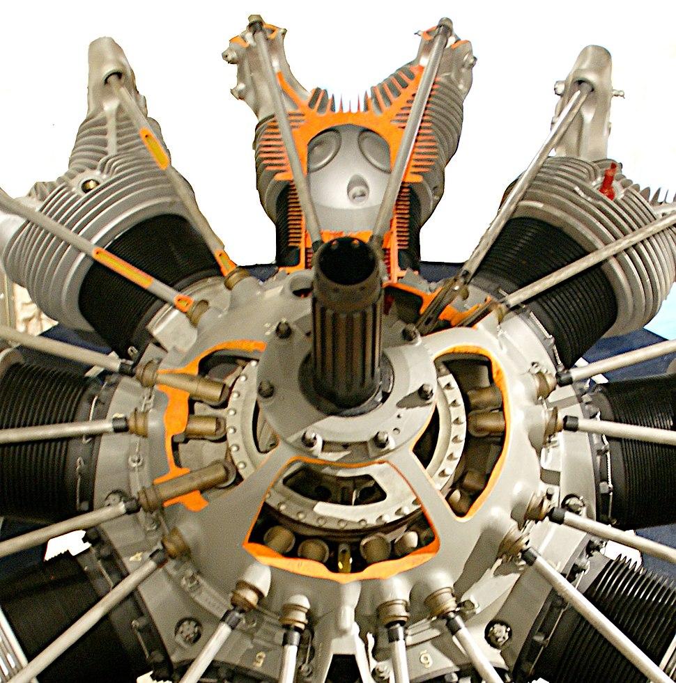 Pratt & Whitney R-1690 Hornet with cutaways detail
