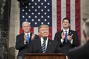 Donald Trump speech to joint session of Congress, February 2017 - President Donald Trump addressing Congress, with Vice President Mike Pence and House Speaker Paul Ryan.