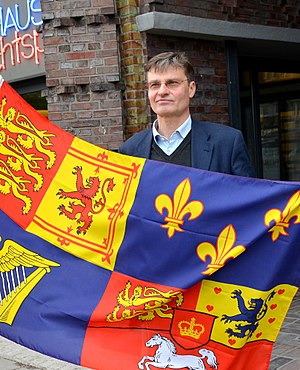 Prince Heinrich of Hanover - Prince Heinrich with an imitated flag of King George I of Great Britain