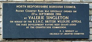 Valerie Singleton - Plaque commemorating Singleton's opening of Priory Country Park