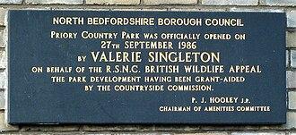 Valerie Singleton - Plaque commemorating Singleton's opening of Priory Country Park