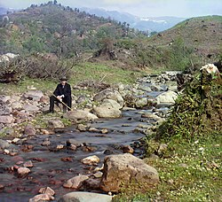 The Karolitskhali, a small river, with the Caucasus Mountains in the background, ca. 1910