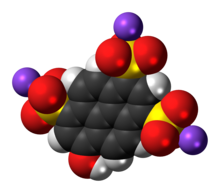 Space-filling model of pyranine as a sodium salt