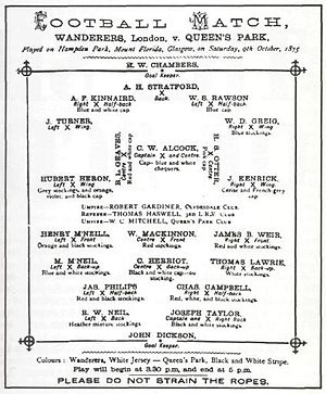 Wanderers F.C. - The programme from Wanderers' match away to Queen's Park in October 1875.