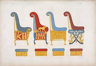 Art of ancient Egypt - Illustration of four royal chairs with their supporters