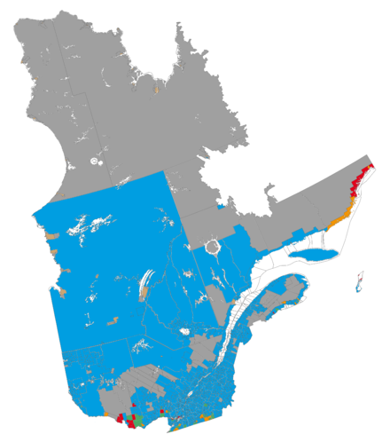 Linguistic map of the province of Quebec (source: Statistics Canada, 2006 census): Francophone majority, less than 33% Anglophone Francophone majority, more than 33% Anglophone Anglophone majority, less than 33% Francophone Anglophone majority, more than 33% Francophone Allophone majority (indigenous) Data not available Quebec langues.png