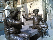 Bronze Statues Of Sancho Panza L And Don Quijote R At The Cervantes Birth Place Museum