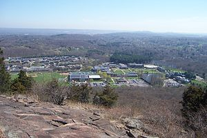 Quinnipiac University - The Mount Carmel campus, from atop Sleeping Giant, April 2009.