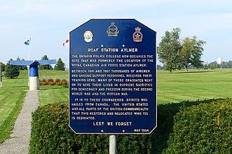 RCAF Station Aylmer - Image: RCAF Aylmer Historical Plaque
