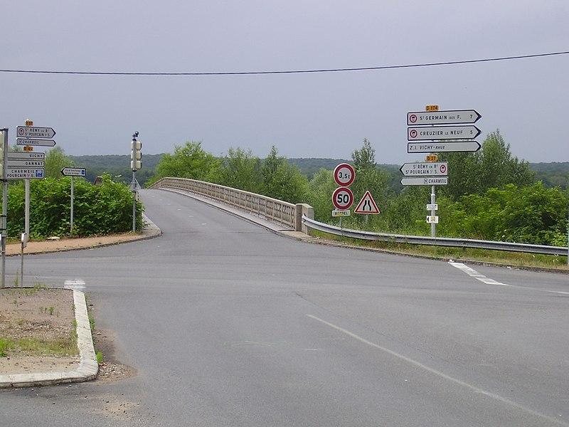 RD 27 in Creuzier-le-Vieux, Allier, Auvergne, France, near Boutiron bridge.