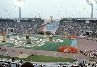 1980 Summer Olympics opening ceremony - Five pillars - five Olympic Rings. RIAN photo.
