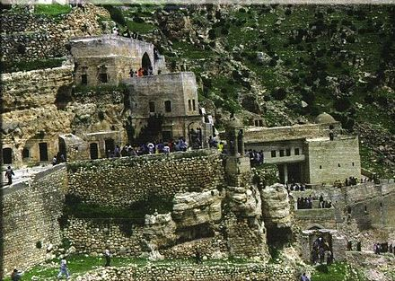The main and most historically significant monastery of the Chaldean Catholic Church, Rabban Hormizd Monastery, in the mountains northeast of Alqosh Rabban Hurmizd.jpg