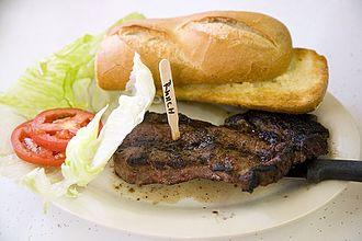 Ranch steak - Ranch steak with bread, lettuce, and tomato