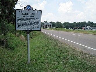 Randolph, Tennessee - Randolph historical marker in Atoka