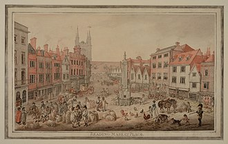 Simeon Monument - Market Place in 1807, with the newly erected monument