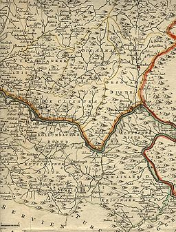 Region between Timok and Morava from Map of Banat of Temesvár (1740)