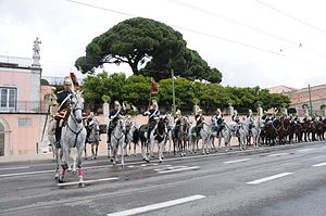 National Republican Guard (Portugal) - GNR cavalry at the changing of the guard of the Presidencial Palace of Belém.