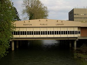 Renton, Washington - Renton Public Library straddles the Cedar River