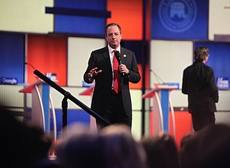 Reince Priebus - RNC Chairman Reince Priebus speaks at the final Republican Party Presidential Candidate debate before the 2016 Iowa caucuses