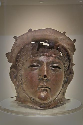 Ribchester Helmet - Replica on display at the Ribchester Roman Museum