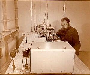 Richard J. Berkley - Richard J. Berkley making magnetic measurements in 1957, at Wilkes Station, Antarctica