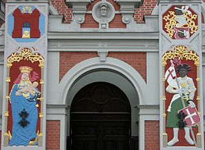 Brotherhood of Blackheads - Portal of the House of Blackheads in Riga with reliefs of St. Mary and Saint Mauritius.
