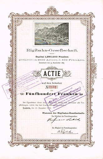 Niklaus Riggenbach - Share of the Rigibahn-Gesellschaft, issued 31. December 1889, signed by Niklaus Riggenbach