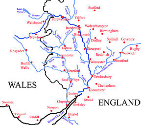 Tributaries (light blue) and major settlements on and near the Severn (bold blue)