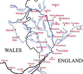 River Avon, Warwickshire - The drainage basin of the Severn. The Avon is the easternmost river shown.