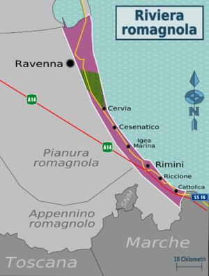 Cartina Riviera Romagnola.Riviera Romagnola Wikivoyage Guida Turistica Di Viaggio