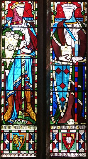 Bideford - 1860 imaginary depiction of Robert FitzHamon (died 1107) (left) and his younger brother Richard I de Grenville (d.post 1142) (right), Church of St James the Great, Kilkhampton, Cornwall