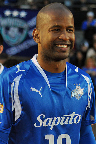 Montreal Impact (1992–2011) - In their final years, Impact wore three stars: one for each league title (2009 image of Roberto Brown).