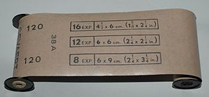 Roll film - Classic 120 negative roll film, manufactured by Agfa-Gevaert, with backing paper indicating total exposures available for 4.5×6, 6×6 and 6×9 cm camera film-frame sizes