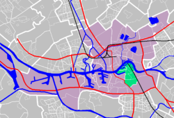 The neibhorhood (in green) on a map of Rotterdam.