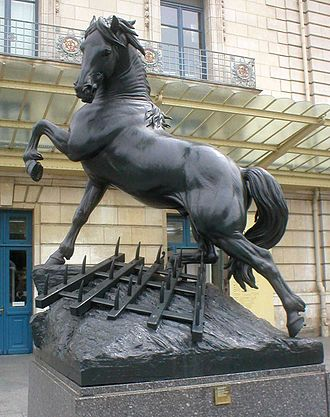 Pierre Louis Rouillard - Cheval à la herse