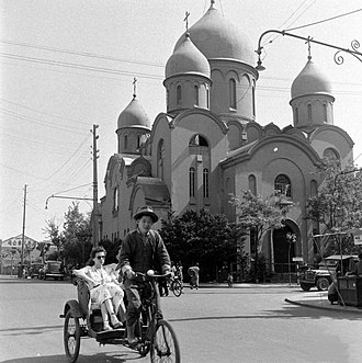 Russians - Russian Orthodox Church in Shanghai (c. 1948), whose 25,000-strong Russian community was one of China's largest