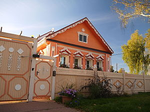 Izba - Carefully rebuilt traditional Russian house in Vyatskoe selo, Jaroslavl region.