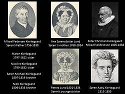 When Mikael Kierkegaard (Michael) died on 9 August 1838 Soren had lost both his parents and all his brothers and sisters except for Peter who later became Bishop of Aalborg in the Danish State Lutheran Church.2