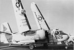 S-2E Tracker of VS-28 folds wings on USS Independence (CV-62) c1973.jpg