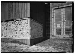 SCULPTED CORNERSTONE AT BASE OF TOWER - Belgian Building, Lombardy Street and Brook Road, Richmond, Independent City, VA HABS VA,44-RICH,110-6.tif