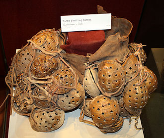 Stomp dance - Southeastern turtleshell rattles, worn on the legs while dancing, c. 1920, Oklahoma History Center