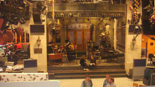 The stage of Saturday Night Live, set up with musical instruments