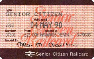 Senior Railcard - A change in October 1988: the background lettering becomes brown.