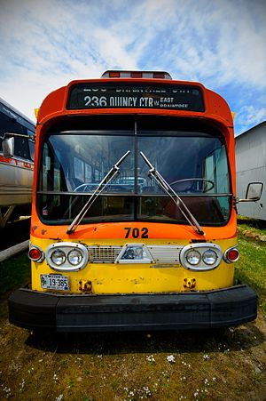Southeastern Regional Transit Authority - A former SRTA bus (with MBTA rollsign) at Seashore Trolley Museum
