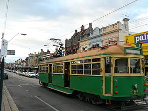 Windsor, Victoria - Tram on Chapel Street stopping at Windsor railway station