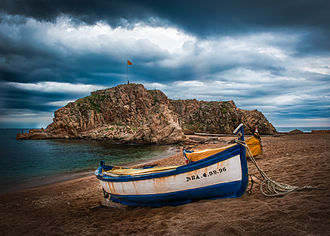 Blanes - Overlook of the  Sa Palomera Rock from the beaches of Blanes