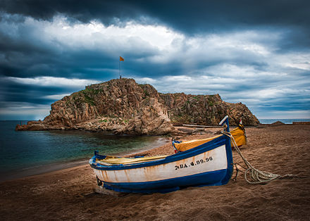 Overlook of the  Sa Palomera Rock from the beaches of Blanes